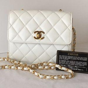 Chanel White Lambskin Leather Sm. Single Flap Bag